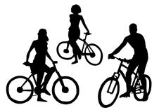 Bicyclists Silhouettes Stock Photo