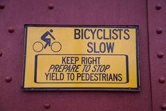 Bicyclists Slow Sign Stock Images