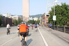 Bicyclists takeover Portland Royalty Free Stock Images