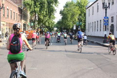 Bicyclists takeover Portland Stock Image