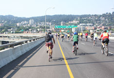 Bicyclists takeover Portland. Sunday, August 12, 2012. Portland, Oregon. Bicyclist takeover the Fremont Bridge during the Providence Bridge Pedal event Royalty Free Stock Photo