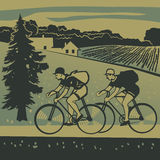 Bicyclists traveling around the country Royalty Free Stock Images