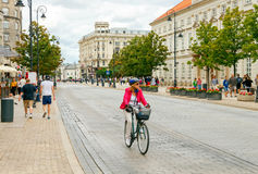 Bicyclists in Warsaw. Stock Image
