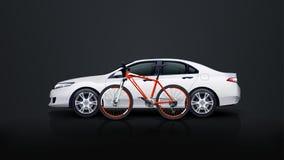 Bicykl i samochód Zdjęcie Stock
