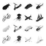 Bicykl, riksza, samolot, jacht Odtransportowywa ustalone inkasowe ikony w czarnym, monochromu symbolu stylowy wektorowy zapas ilustracji