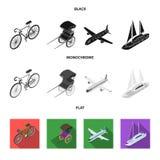 Bicykl, riksza, samolot, jacht Odtransportowywa ustalone inkasowe ikony w czarnym, płaski, monochromu symbolu stylowy wektorowy z royalty ilustracja