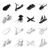 Bicykl, riksza, samolot, jacht Odtransportowywa ustalone inkasowe ikony w czerni, konturu symbolu zapasu stylowa wektorowa ilustr ilustracja wektor