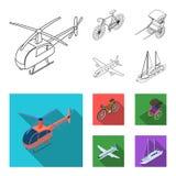 Bicykl, riksza, samolot, jacht Odtransportowywa ustalone inkasowe ikony w konturze, mieszkanie symbolu zapasu stylowa wektorowa i royalty ilustracja
