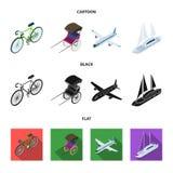 Bicykl, riksza, samolot, jacht Odtransportowywa ustalone inkasowe ikony w kreskówce, czerń, mieszkanie symbolu stylowy wektorowy  ilustracji