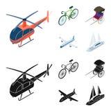 Bicykl, riksza, samolot, jacht Odtransportowywa ustalone inkasowe ikony w kreskówce, czerń symbolu zapasu stylowa wektorowa ilust ilustracji