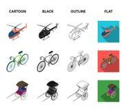 Bicykl, riksza, samolot, jacht Odtransportowywa ustalone inkasowe ikony w kreskówce, czerni, zarysowywa, mieszkanie symbolu stylo ilustracji