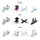 Bicykl, riksza, samolot, jacht Odtransportowywa ustalone inkasowe ikony w kreskówce, czerni, zarysowywa, stylowego wektorowego sy ilustracji