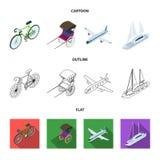 Bicykl, riksza, samolot, jacht Odtransportowywa ustalone inkasowe ikony w kreskówce, kontur, mieszkanie symbolu stylowy wektorowy ilustracji