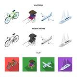 Bicykl, riksza, samolot, jacht Odtransportowywa ustalone inkasowe ikony w kreskówce, mieszkanie, monochromu symbolu stylowy wekto ilustracji