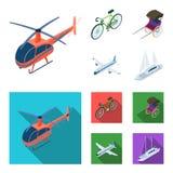 Bicykl, riksza, samolot, jacht Odtransportowywa ustalone inkasowe ikony w kreskówce, mieszkanie symbolu zapasu stylowa wektorowa  ilustracja wektor