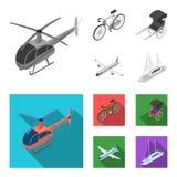 Bicykl, riksza, samolot, jacht Odtransportowywa ustalone inkasowe ikony w monochromu, mieszkanie symbolu zapasu stylowa wektorowa royalty ilustracja