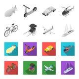 Bicykl, riksza, samolot, jacht Odtransportowywa ustalone inkasowe ikony w monochromu, mieszkanie symbolu zapasu stylowa wektorowa ilustracji