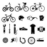 Bicykl, rower wektorowe ikony ustawiać Obrazy Stock