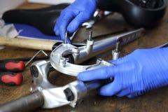 Bicykl, szoka absorber, rozwidlenie, wspornik, kierownica wspornik Zdjęcie Stock