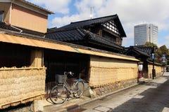 Bicykl wokoło Nagamachi terenu, znać jako samuraja okręg Kana Fotografia Royalty Free