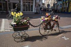 Bicykl z furą, dekorującą z sztucznymi kwiatami i gumową kaczką która reklamuje pamiątkarskiego sklep, fotografia stock