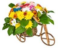 Bicykl Z Kwiatami odizolowywającymi Zdjęcie Stock