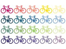 Bicykles, bikes, rainbow vector images editable EPS AI vector clipart. Clip art bikes multicolor royalty free illustration