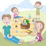 bicykli/lów dzieci rodzinny ojca weekend szczęśliwa rodzina piknik ilustracji