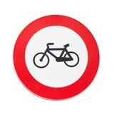 Bicyklu ruch drogowy zabraniający, drogowy znak odizolowywający Zdjęcie Stock