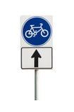 Bicyklu szyldowy i rowerowy pas ruchu na białym tle Fotografia Stock