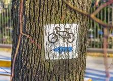 Bicyklu znak, bicyklu znak malował na drzewnym jawnym parku Obraz Stock