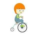 Bicyle di guida del ragazzo Fotografie Stock