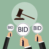 Bid at the auction, sale lots. Flat design,  illustration Stock Images