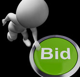 Bid Button Shows Auction Buying And Selling Royalty Free Stock Photo