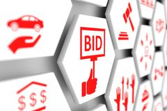 BID concept. Cell blurred background 3d illustration Stock Images