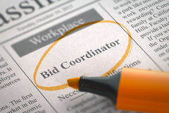 Bid Coordinator Job Vacancy. 3D. Royalty Free Stock Photo