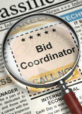 Bid Coordinator Job Vacancy. 3D. Royalty Free Stock Photos