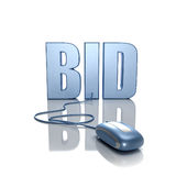 Bid in Internet. 3D rendering of the word BID connected to a computer mouse Royalty Free Stock Photos