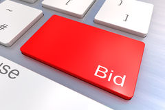 Bid keyboard button. A Colourful 3d Rendered Illustration showing Bid on a Computer Keyboard Stock Image