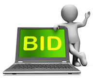Bid Laptop And Character Shows Bidder Bidding Or Auctions Online Stock Images