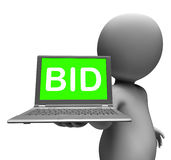 Bid Laptop Character Shows Bids Bidding Or Auction Online. Bid Laptop Character Showing Bids Bidding Or Auction Online Royalty Free Stock Images