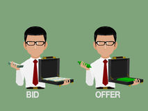 Bid and Offer. Info graphic character show bid and offer for stock market Stock Photography
