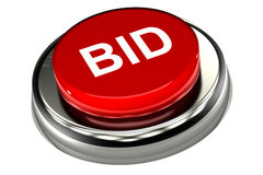 Bid Push Button. A Colourful 3d Rendered 'Bid' Push Button Stock Photos