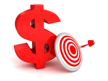 Bid red dollar symbol with target and arrow Royalty Free Stock Photo