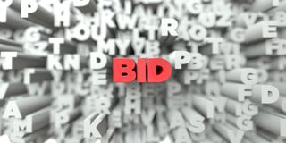 BID -  Red text on typography background - 3D rendered royalty free stock image. This image can be used for an online website banner ad or a print postcard Stock Image