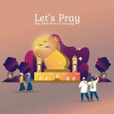 Bid samen bij de moskee voor Moslims stock illustratie