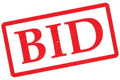 Bid Stamp. Red bid stamp isolated on white Stock Photo