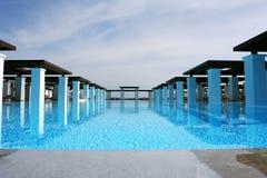 Bid swimming-pool and greece sky Royalty Free Stock Photos