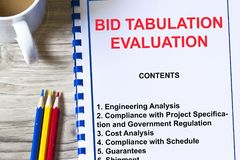 Bid tab analysis concept. Many uses in the construction industry Royalty Free Stock Photo