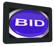 Bid Tablet Shows Online Auction Or Bidding Stock Photography